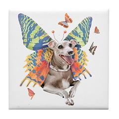 Italian Greyhound Butterfly Dog Tile Coaster