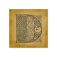 """Celtic Letter D Square Sticker 3"""" x 3"""""""