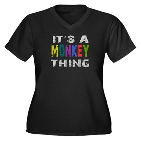 Monkey THING Women's Plus Size V-Neck Dark T-Shirt