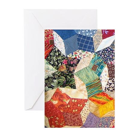 Tumbling Block Patchwork Quilt Greeting Cards (Pk