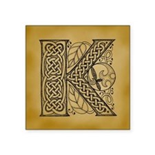 "Celtic Letter K Square Sticker 3"" x 3"""