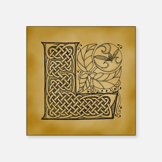 "Celtic Letter L Square Sticker 3"" x 3"""