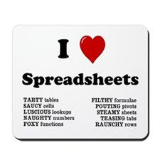 I Love Spreadsheets Rude Mousepad