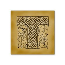 "Celtic Letter T Square Sticker 3"" x 3"""