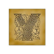 "Celtic Letter Y Square Sticker 3"" x 3"""