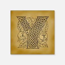 "Celtic Letter Y Square Sticker 3"" x 3"""