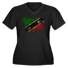 Saint Kitts Nevis Flag Women's Plus Size V-Neck Da
