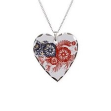 Samoa Flag Necklace Heart Charm