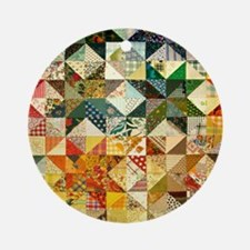 Fun Patchwork Quilt Ornament (Round)