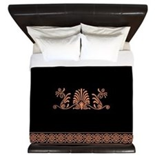Ancient Greek Floral Pattern King Duvet