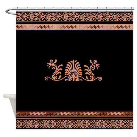 Ancient Greek Floral Pattern Shower Curtain
