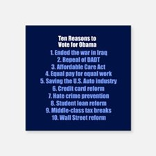 "10 Reasons for Obama Square Sticker 3"" x 3"""