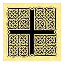 "Celtic Square Cross Square Car Magnet 3"" x 3"""