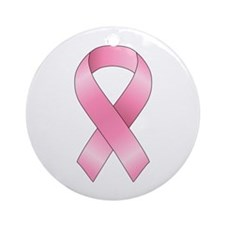 Breast Cancer Ribbon Ornament (Round)