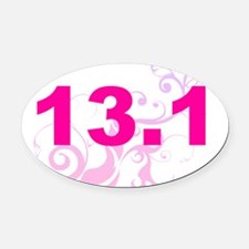 run 13.1 pink swirl Oval Car Magnet