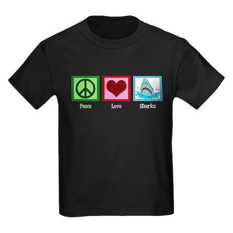 Peace Love Sharks Kids Dark T-Shirt
