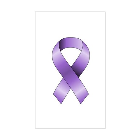 Purple Ribbon Sticker (Rectangle)