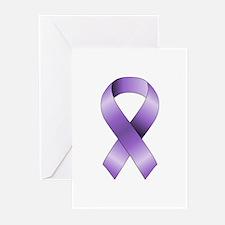 Purple Ribbon Greeting Cards (Pk of 20)