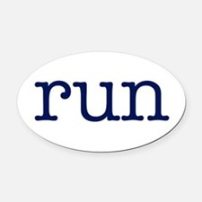 run_blue_sticker2.png Oval Car Magnet