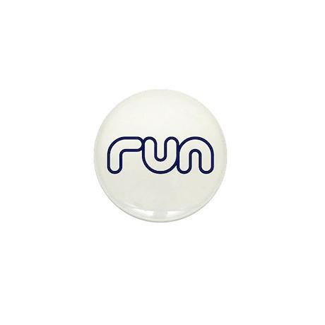 run_blue_sticker.png Mini Button (10 pack)