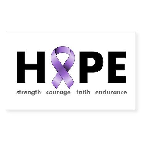 Purple Ribbon Hope Sticker (Rectangle)