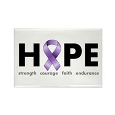 Purple Ribbon Hope Rectangle Magnet