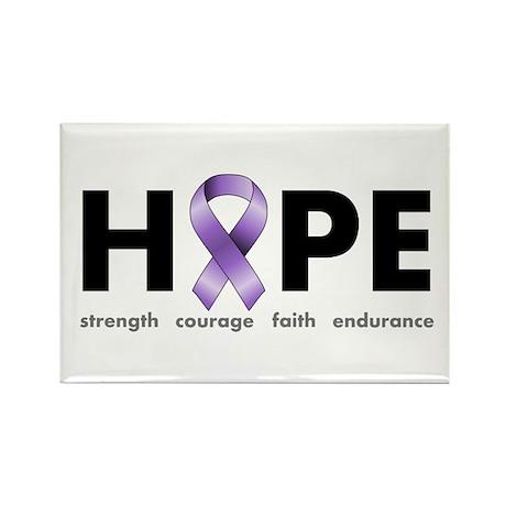 Purple Ribbon Hope Rectangle Magnet