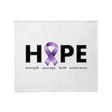 Purple Ribbon Hope Throw Blanket