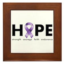 Purple Ribbon Hope Framed Tile
