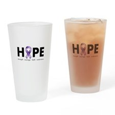 Purple Ribbon Hope Drinking Glass