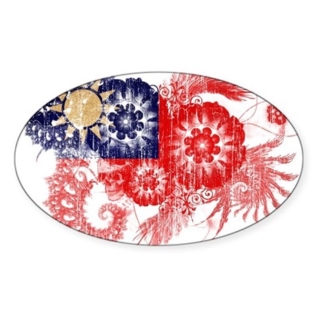 Taiwan textured flower aged copy.png Sticker (Oval
