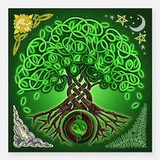 """Circle Celtic Tree of Life Square Car Magnet 3"""" x"""