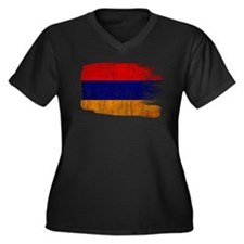 Armenia Flag Women's Plus Size V-Neck Dark T-Shirt