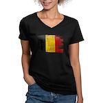 Belgium Flag Women's V-Neck Dark T-Shirt