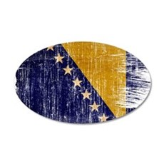 Bosnia and Herzegovina Flag 22x14 Oval Wall Peel