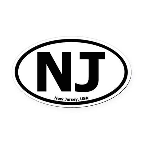 New Jersey Oval Car Magnet