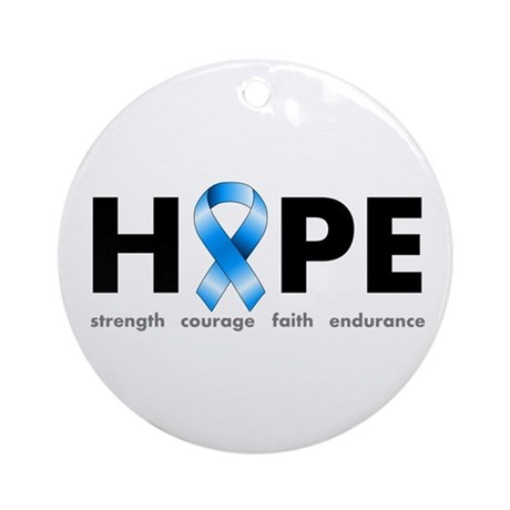 Blue Ribbon Hope Ornament (Round)