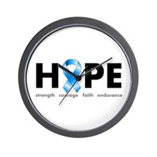 Blue Ribbon Hope Wall Clock