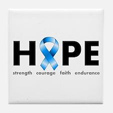 Blue Ribbon Hope Tile Coaster