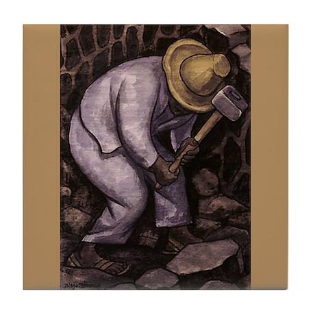 Diego Rivera Stone Mason Ceramic Art Tile Coaster