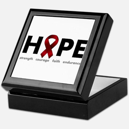 Burgundy Ribbon Hope Keepsake Box