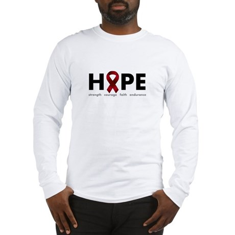 Burgundy Ribbon Hope Long Sleeve T-Shirt