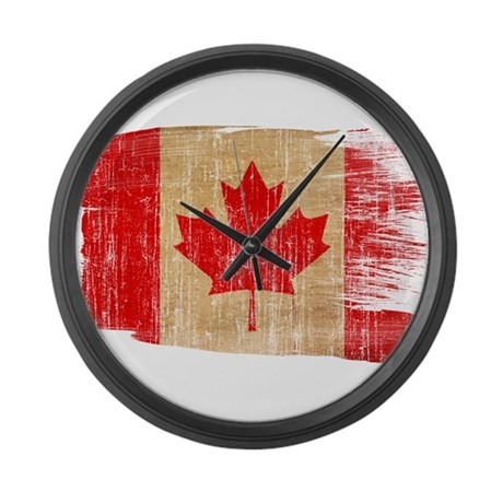 Canada flag large wall clock by fadedpaintflags for Oversized wall clocks canada