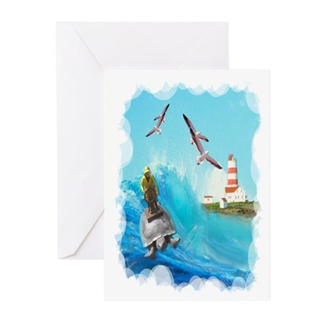 Captain riding back of turtle Greeting Cards (Pk o