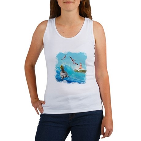 Captain riding back of turtle Women's Tank Top