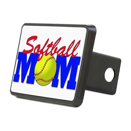 softball mom(white).png Rectangular Hitch Cover