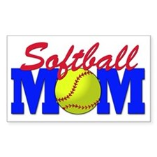 Softball MOM Sticker (Rectangular)