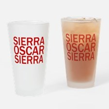 SOS-Red Drinking Glass