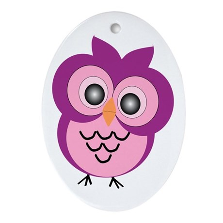 Purple Owl Ornament (Oval)