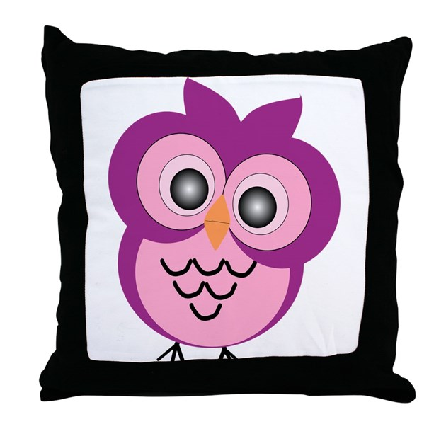Purple Owl Throw Pillow by owls0